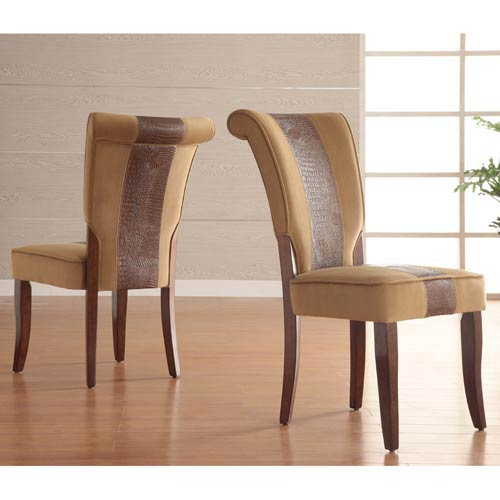 HomeHills Faux Alligator Leather Side Chairs, Set of Two